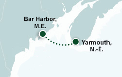 Map of Portland, Maine to Yarmouth, Nouvelle-Écosse route