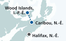 Map of Caribou, Nouvelle-Écosse to Wood Islands, Prince Edward Island route