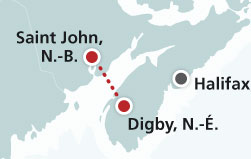 Map of Saint John, Nouveau-Brunswick to Digby, Nouvelle-Écosse route